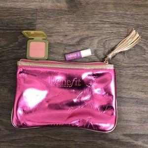Benefit Makeup Metallic Pink Bag
